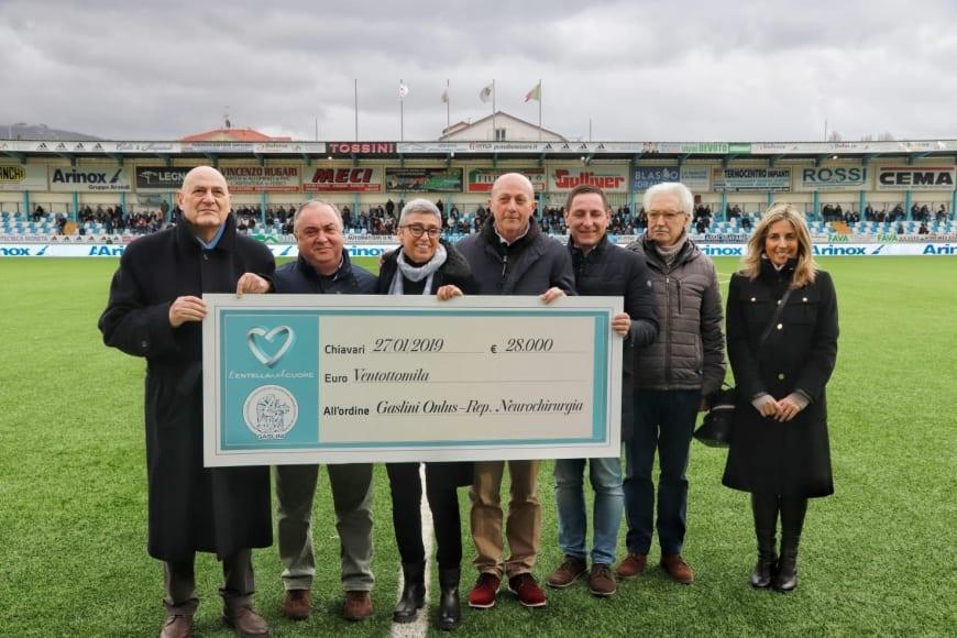 L'Entella nel Cuore dona ventottomila euro al Gaslini